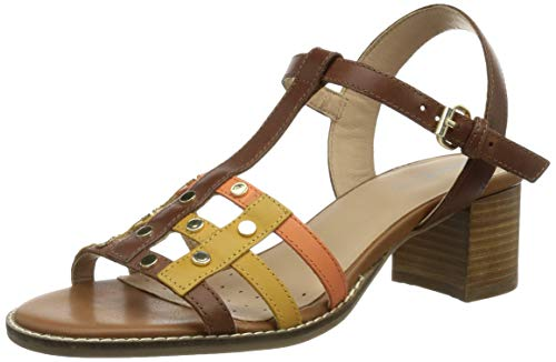 Geox D Sozy Mid B, Sandalias con tacón. Mujer, marrón y Amarillo, 38 EU