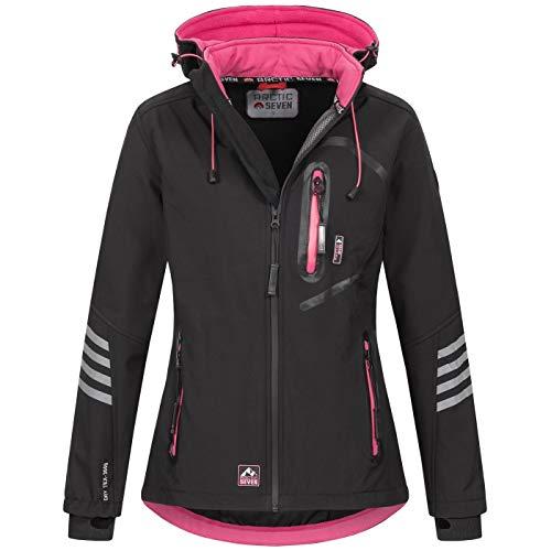 Arctic Seven Damen Softshell Funktions Outdoor Regen Jacke Sport Kapuze AS186 [AS-186-Schwarz-Pink-Gr.4XL]