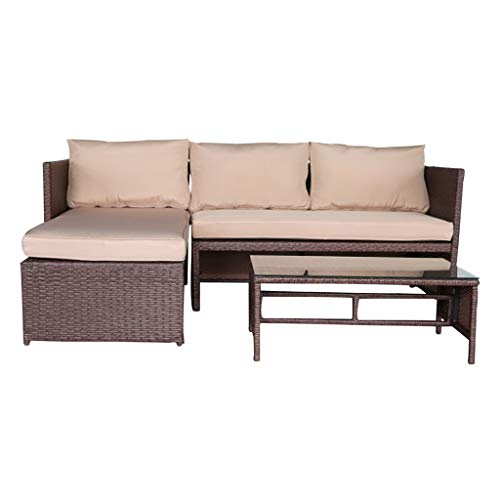 JHZYP Patio Furniture Sets All Weather Outdoor Patio Conversation Set 3 Pieces Wood Grain PE Wicker Rattan Ottoman with Tempered Glass Table Patio Sofa Set