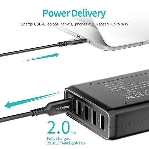 Nekteck USB C Ladegerät 111W Wandladegerät 5-Port mit 87W Power Delivery für Laptops,MacBook/Pro und iPad Pro 2018,und 4 USB Netzteil für iPhone 11 Pro XR XS Max,Galaxy,iPad Huawei und mehr