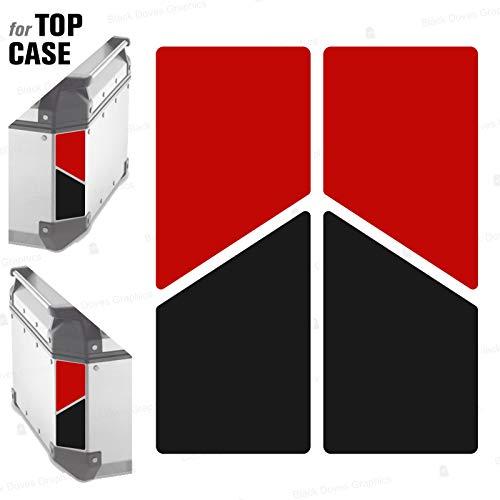 2 adhesivos reflectantes bicolores compatibles con Givi Monokey Trekker Outback Baúl de aluminio Top Case 37 42 48 L (rojo-negro)