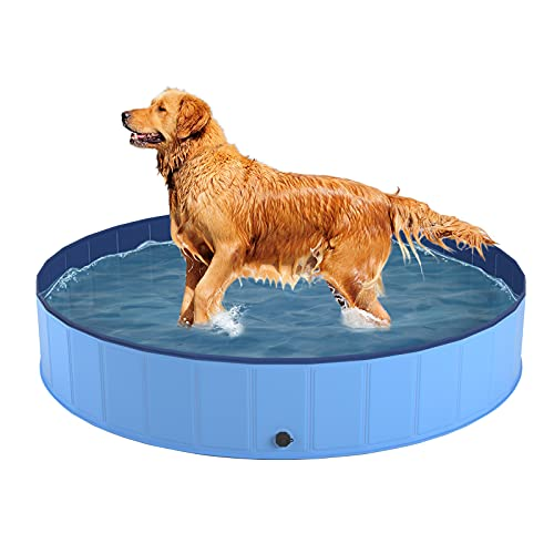 RimiMore Foldable Dog Pool for Large Dogs, Portable Slip-Resistant Kiddie Pool, Collapsible PVC Bathing Tub, Outdoor Swimming Pool for Large Small Pets Dogs Cats and Kids(Large)