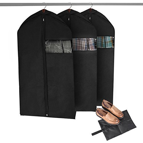MaidMAX 42 Inches Garment Bags with Full Length Zipper an Clear Window, Breathable Non-Woven Suit Bag, Black, Set of 3