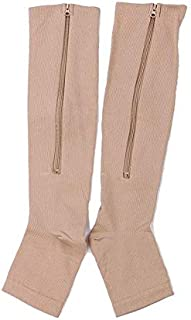 Baiepen Zipper Medical Compression Socks with Open Toe Best Support Zipper Stocking for Varicose Veins Edema Swollen Or So...
