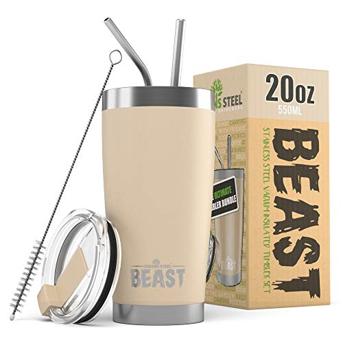 Greens Steel New Beast Tumbler Edelstahl Vakuum Isoliert Rambler Kaffee Tasse Doppelwandige Reise Fläschchen (20oz, Sand)