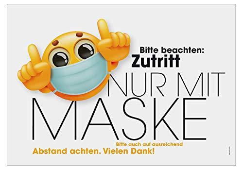 Hinweisschild Maskenpflicht Abstand halten Motiv Smiley 30 x 20cm Kunststoff
