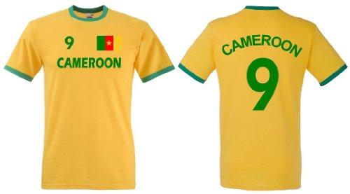 Fruit of the Loom Kamerun Herren T-Shirt Cameroon Retro Trikot beidseitig Bedruckt|S