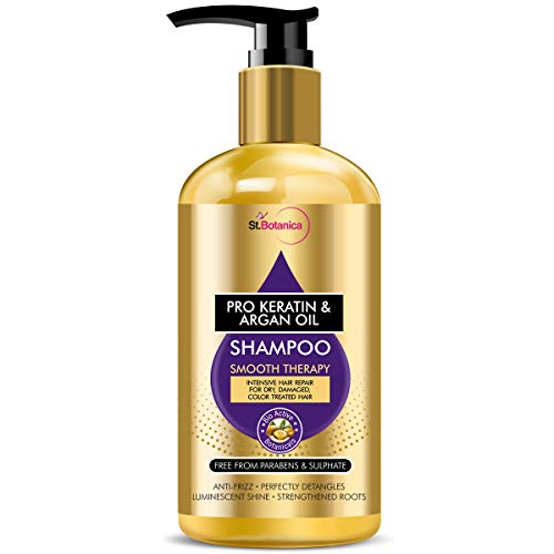 StBotanica Pro Keratin & Argan Oil Smooth Therapy Shampoo - Intense Hair Repair For Dry, Damaged & Color Treated Hair, No Parabens, Silicons or Sls/Sulphate, 300 ml (STBOT573)