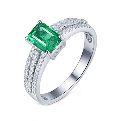 ButiRest Real Jewellery 750 Gold Ring Drill Row 18 Carat White Gold with Four Prongs Emerald Cut 1ct Green Emerald VS and 0.29ct Diamond silver