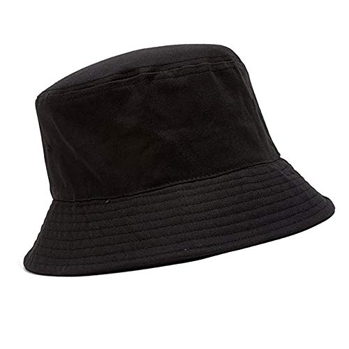 halinfer Unisex Bucket Hat Black, Double-Side Wearable with Detachable Tie-up Face Shield, Removable Guard