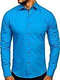 BOLF Hombre Camisa Elegante 1703 Azul Turquesa L [2B2]