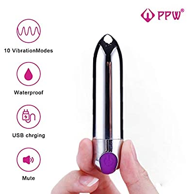 PPW Upgrade Travel Cordless Bullet Massager for Sex,USB Recharge,Waterproof,Wireless Mini Finger Stimulating Clitoral Vibrator Massager Black (Black) (Silver-2)