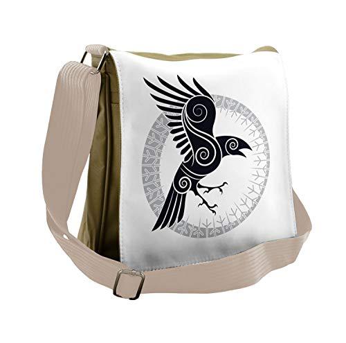 Lunarable Raven Messenger Bag, Abstract Celtic Style Rune, Unisex Cross-body