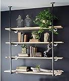 WGX Design For You Industrial Retro Wall Mount Iron Pipe Shelf Hung Bracket DIY Storage Shelving Bookshelf (2 Pcs 4Tier Hardware only)