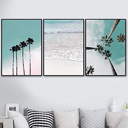 Kokosnoot, roze, strand, zee, paraplu, wand, kunstlinnen, Noors schilderen, affiches en graveren, wandafbeeldingen voor woonkamer, decoratie 40x60cm No Frame 3 Piece