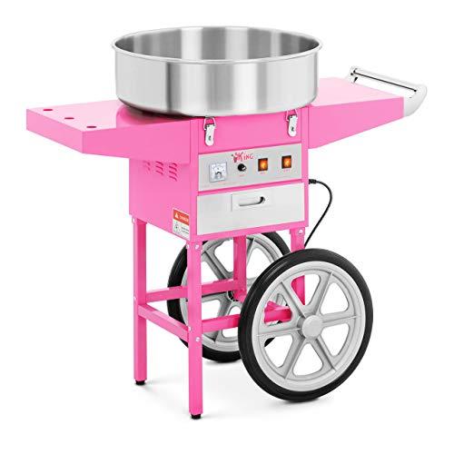Royal Catering RCZC-1200-W Zuckerwattemaschine mit Wagen Cotton Candy Machine (Ø 52 cm, 1.200 W, 1 Einheit / 60 s, inkl. Zubehör) Pink
