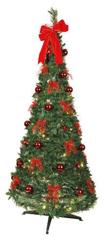 Best Season Dekorierter LED-Tannenbaum, beleuchtet circa 190 x 80 cm mit 80 warmwhite LED mit 8 Funktionen, zusammenfaltbar, rote Dekoration Vierfarb-Karton 603-90