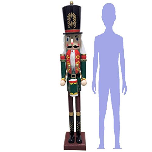 "CDL 48"" 4ft Tall Life-Size Large/Giant Christmas Wooden Nutcracker Soldier Drummer Ornament on Stand Play Drum for Indoor Outdoor Xmas/Event/Ceremonies/Commercial Decoration K37"