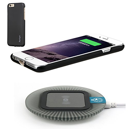 Wireless Charger Kit for iPhone 6 / 6S, 2-in-1 Wireless Charging Receiver Case and Sleep-Friendly Charging Pad for iPhone 6 6S (Black, for iPhone 6/6S)