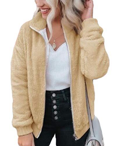 SOWTKSL Damen Winterjacke mit Reißverschluss aus dickem Fleece Gr. US XXX-Large, gelb