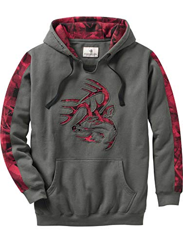 Legendary Whitetails Men's Camo Plaid Outfitter Hoodie Charcoal Large