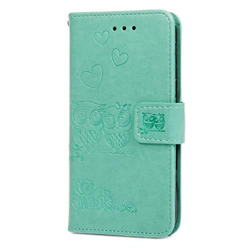 Hoesje voor Samsung Galaxy A5 2017 Wallet Book Case, Magneet Flip Wallet Slim Beschermende Telefoonhoes met Kaarthouders slots Robuuste schokbestendige Bookcase voor Samsung Galaxy A5 2017 muntgroen