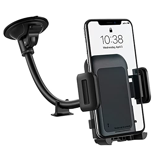 Car Phone Holder Mount, Long Arm Windshield Phone Holder, Washable Suction Cup Car Mount Compatible with iPhone 12 11 Pro Max, XS Max, XS, XR/X/8/7/6 Plus Etc