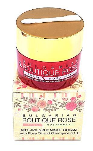 Crema Antiarrugas de Noche con Coenzima Q10 y Aceite Natural de Rosa de Boutique Rose, Sin Parabenos, Sin Conservantes