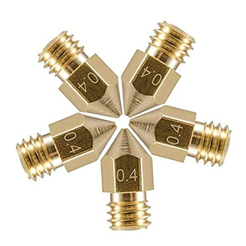 3DBUYER 0.4mm 3D Printer Nozzles, 5 Pcs Brass Nozzle for Makerbot Creality CR-10/10S