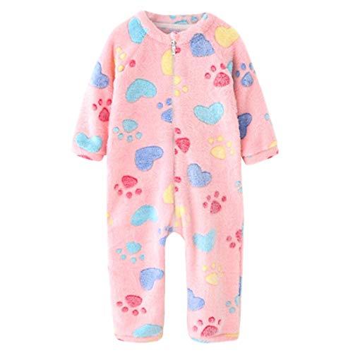 DEBAIJIA Bebé Mameluco 1-3T Recién Nacido Peleles Infantil Monos Niños Pijama Niña Ropa de Dormir Niño Camisones Unisexo Franela (Rosado-110)
