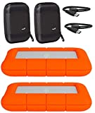 """LaCie 2 Pack 4TB Rugged Mini USB 3.0 2.5"""" Portable External Hard Drives Compatible with Mac and PC - Water and Drop Resistance with Ivation Compact Cases Compatible with LaCie LAC9000633 Hard Drive"""
