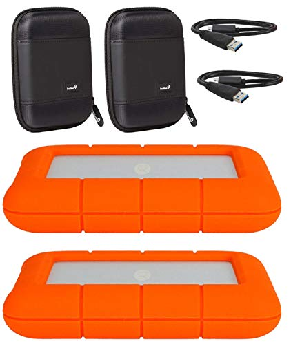 """LaCie 2 Pack 4TB Rugged Mini USB 3.0 2.5"""" Portable External Hard Drives Compatible with Mac and PC - Water and Drop Resistance with Compact Pocket Cases"""