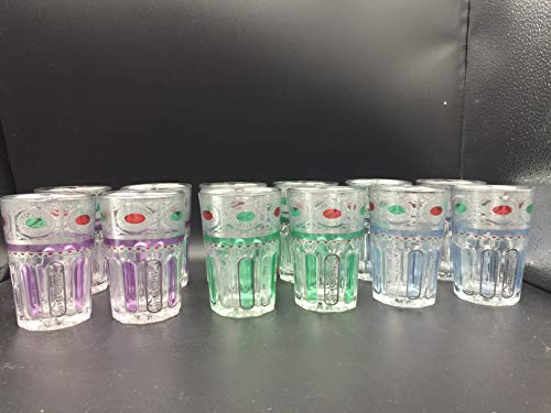 ML Set de 12 de Vasos de Cristal para Té marroquí Multicolor...