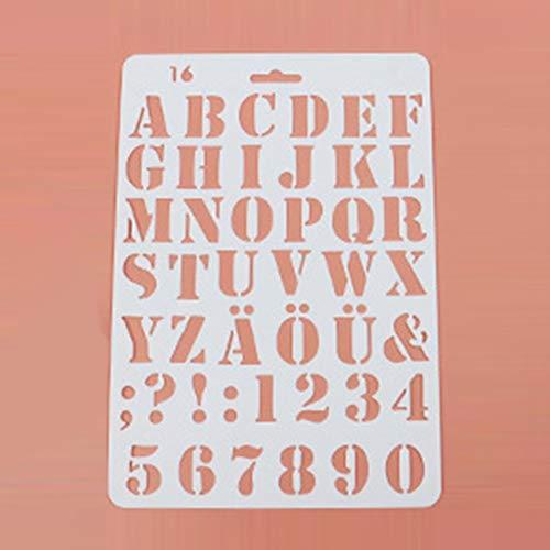 BLOUR Nouveau Alphabet ABC numéro Superposition pochoirs autocollant peinture Scrapbooking Papier Carte modèle décoration