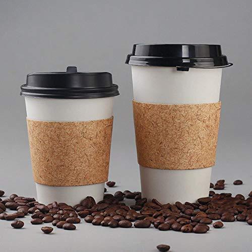 POMU 50 stks Dik Wit Papier Cup Wegwerp Koffie Cup 250ml Kleine Sap Drank Water Verpakking Met Deksels En Bruine Mouwen