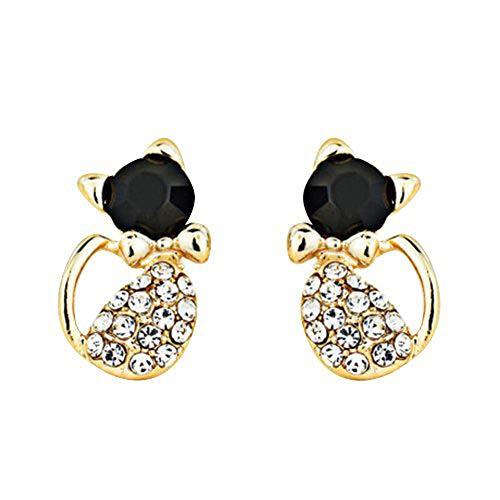 Brussels08 1 par de pendientes de tuerca con diseño de gato con diamantes de imitación brillantes incrustados con diamantes de imitación, joyería de regalo para mujeres y niñas, color negro