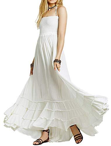 R.Vivimos Womens Summer Cotton Sexy Blackless Long Dresses X-Large White