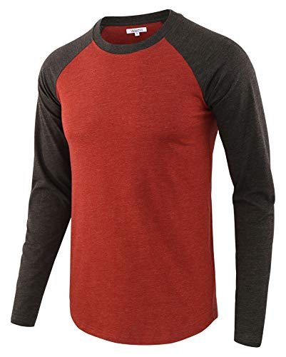 Vetemin Men Casual Basic Soft Active Sports Long Raglan Sleeve Baseball T-Shirt Heather Rusty/Heather Charcoal XXL