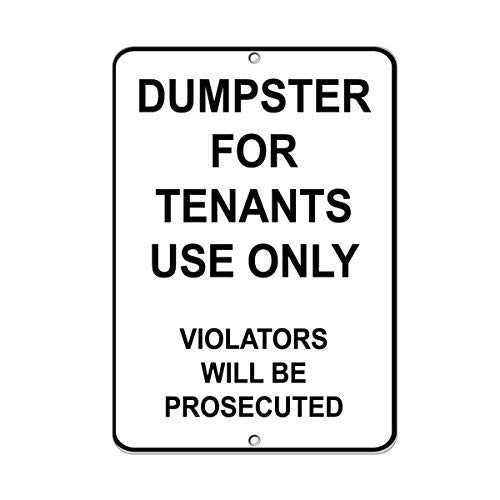 43LenaJon Dumpster for Tenants Use Only Violators Will Be Prosecuted Plaque en métal aluminium pour homme Cave Garden Street Signs Farmhouse Home Office Decor