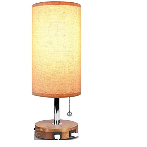 ZYLZL Ligero Escritorio Lámpara de Noche Casa Led con la Carga Usb Dual Multifunción Madera,por Sala Cabecera Comedor Iluminación/A/Como se muestra