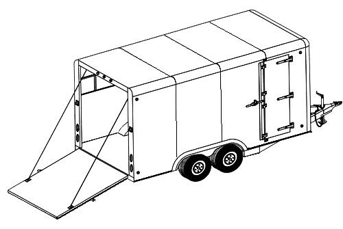 16CC Trailer Plan - 16'x8' Tandem Axle 7K or 10.4K Covered Cargo Trailer DIY How-to Blueprint