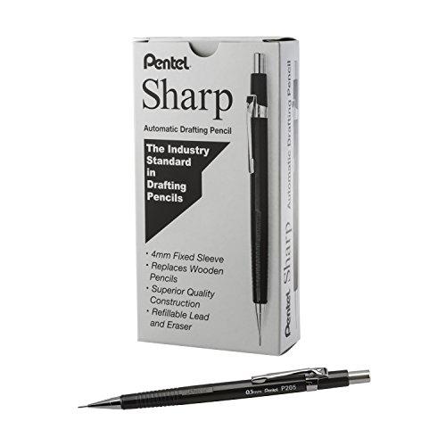 Pentel Sharp Mechanical Pencil, (0.5mm), Metallic Graphite Barrel, Box of 12 (P205MN)