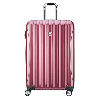 Delsey Luggage Helium Aero, Large Checked Luggage, Hard Case Spinner Suitcase, Peony Pink