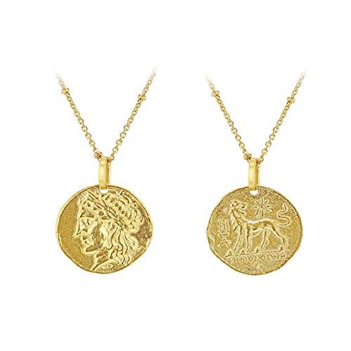 Tuscany Silver Collar Ajustable de Cadena Bobble Moneda Romana Reversible de 12.5mm x 18mm Plata de Ley Chapada en Oro Amarillo para Mujer de 45cm/17.75'-50cm/19.5'