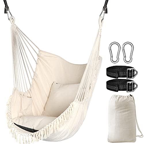Chihee Sièges Suspendus Chaise Suspendue Hamac 2 oreillers Inclus,Sangles et Crochets Solides pour Une Suspension Facile Suspendue en Coton Doux Poche de côté Ensemble de chaises à Pampilles Confort