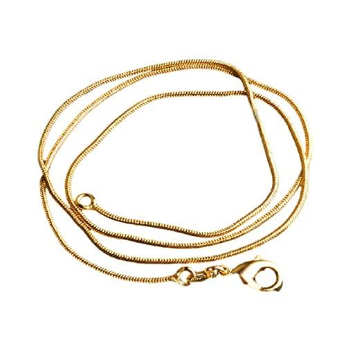 LFNSTXT Collar de Serpiente Chapado en Oro Puro de 1 mm, joyería de Moda para Mujer con Gargantilla con Sello de 18KRGP, Collar de 16-30 pulgadas-60 cm