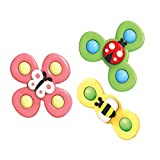 Nanyaciv 3PCS/Set Suction Cup Spinning Top Baby Toy, Spin Sucker Spinning Top Spinner Toy Baby Toy, Safe Interesting Table Sucker Toy Early Learning Toys for Baby Children Kids Girls Boys