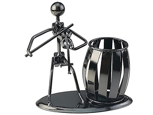 Music Iron Man Art Steel Pen Container Holder Pencil Cup Pot Secretary Desktop Music Decoration Toy Gift (C161 Violin)