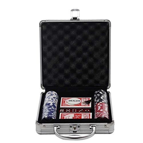 100pcs Poker Chip Set Caja de Almacenamiento de Aluminio con Tarjetas de Juego Dados para Casino Utilidad Para Usar