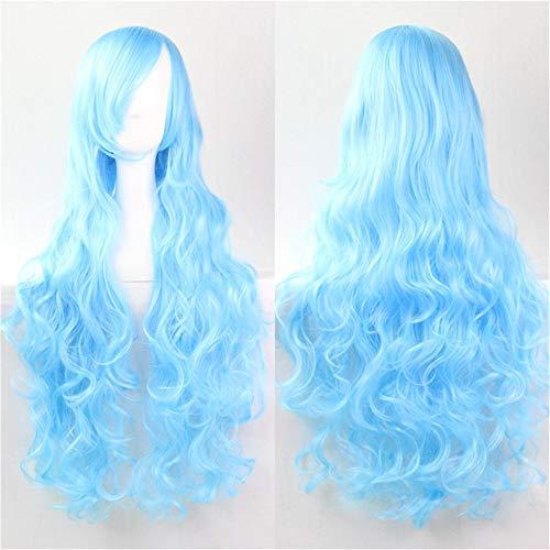 Amyseller 81,3 cm 80 cm Perruque longue spirale bouclés ondulés Perruques synthétiques Lolita Anime Cheveux Postiche pour fille Halloween Cosplay Costume de fête quotidien Déguisement